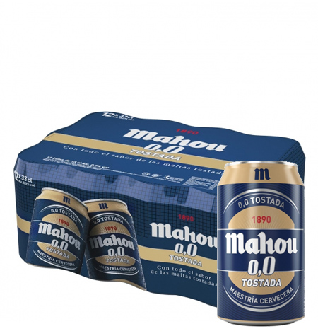 Cerveza MAHOU 0,0 Tostada 33 cl Pack 24 latas
