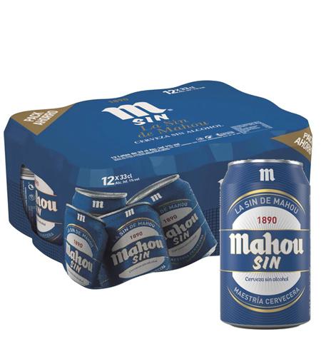 Cerveza MAHOU SIN 33 cl Pack 24 latas