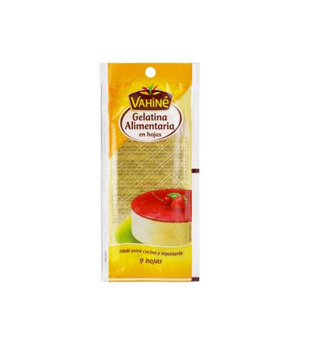 Gelatina Alimentaria Vahine 9 Hojas - Distribuidor en Salamanca