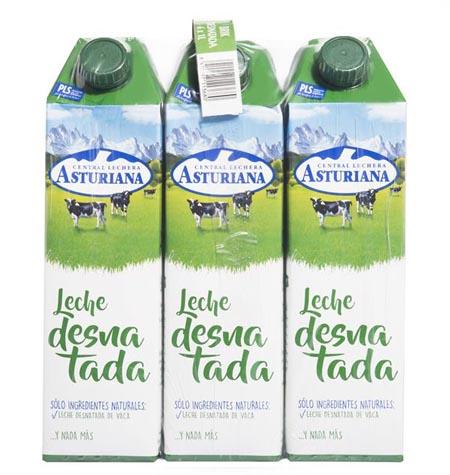 Leche asturiana desnatada brik 1 litro paquete 6 uds