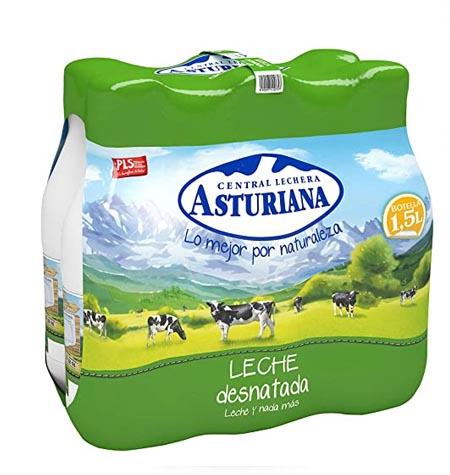 Leche Asturiana desnatada brik 1.5 litros paquete 6 uds