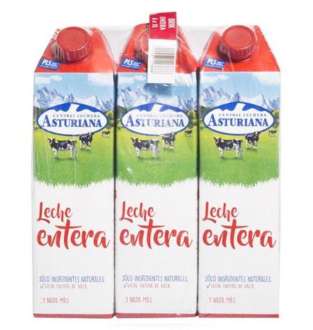 Leche Asturiana entera brik 1 litro paquete 6 uds
