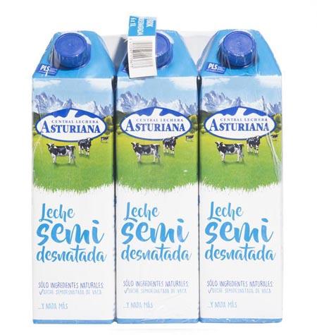 Leche Asturiana semi brik 1 litro paquete 6 uds