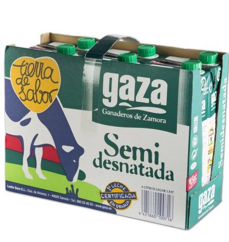 Leche Gaza Semidesnatada Brik 6 x 1Litro