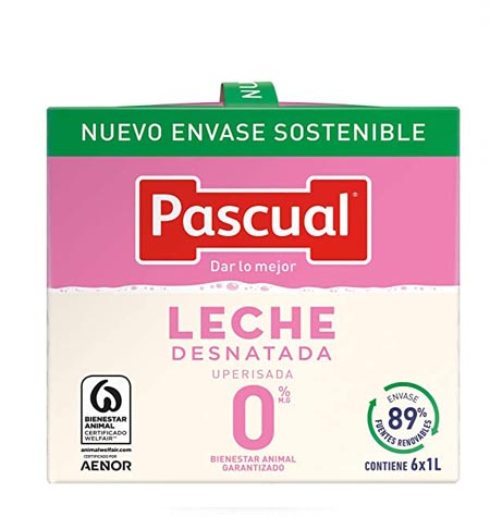 Leche Pascual desnatada brik 1 litro paquete 6 uds