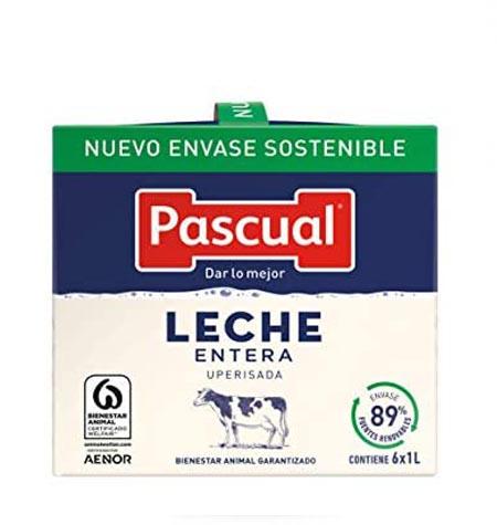 Leche Pascual entera brik 1 litro paquete 6