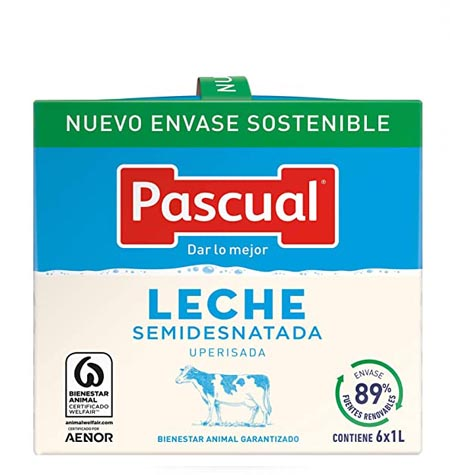 Leche Pascual semi brik 1 litro paquete 6 uds
