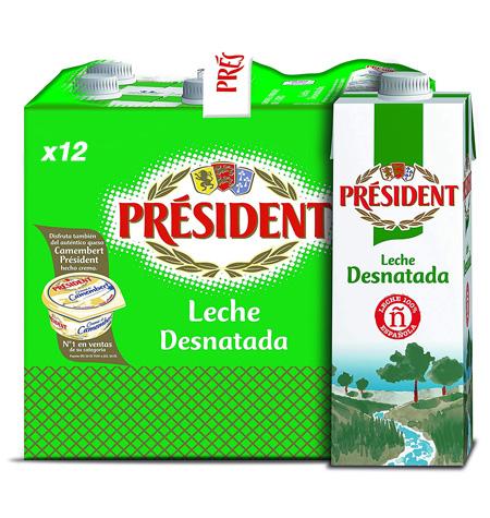 Leche President Desnatada 1 Litro x 12 Unidades