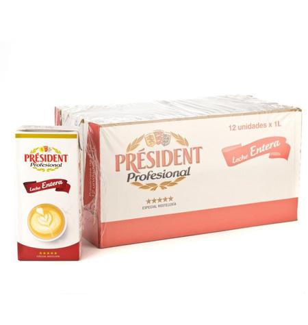 Leche President Entera 1 Litro x 12 Unidades