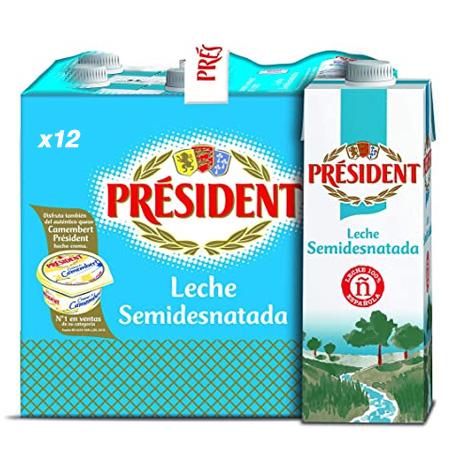 Leche President Semidesnatada 1 Litro x 12 Unidades