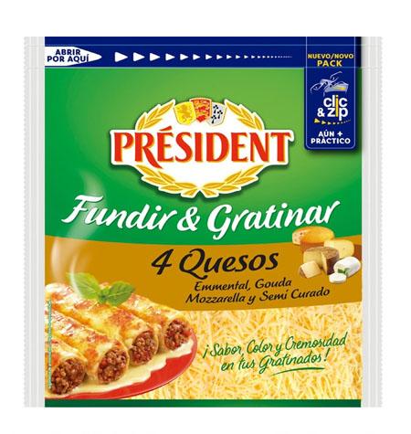 Queso rallado 4 Quesos PRESIDENT 150g